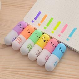 VANVENE 6 pcs/set Mini Pill shaped highlighter pens for writ