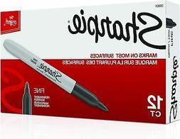 Sharpie Premium Permanent Fine Point Marker Black 30001, 12