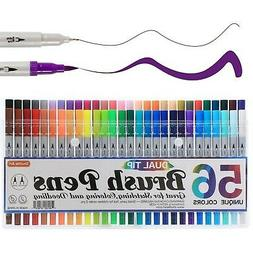 Shuttle Art 56 Colors Calligraphy Sumi Brushes Dual Tip Brus