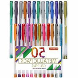 Shuttle Markers Art 50 Pack Metallic Gel Pens, 25 Set With R