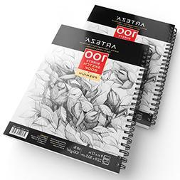 """Arteza Sketch Book 9X12"""" 50lb/74g, 100 Sheets, 2 Pack"""