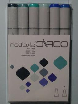 Copic Sketch Markers Dual Tipped Set of 6- Sea and Sky NEW F