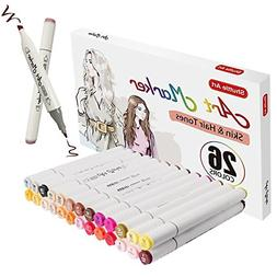 Shuttle Art 26 Colors Skin & Hair Tones Dual Tip Art Marker,