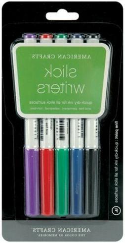 Slick Writer Marker 5-Pack-Fine Point-Black/Blue/Red/Green/P