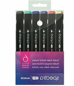 SPECTRA AD Double Ended Alcohol Markers 6 PC BASIC CHARTPAK