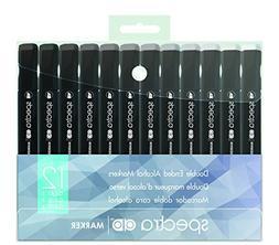 Chartpak Spectra AD Marker, Tri-Nib and Brush Dual-Tip, 12 A