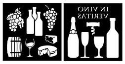 Auto Vynamics - STENCIL-WINESET01-10 - Detailed Wine, Cheese