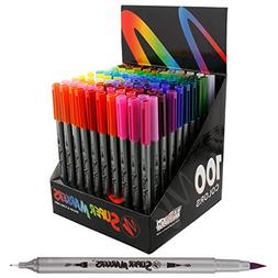 Super Markers 100 Unique Colors Fineliner and Brush Twin Tip