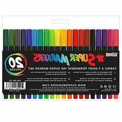 Super Markers 20 Color Premium Fabric & T-Shirt Marker Set F