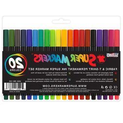 Super Markers 20 Color Premium Fabric & T-Shirt Marker Set w