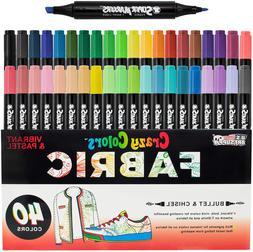 Super Markers 40 Unique Primary  Pastel Colors Dual Tip Fabr