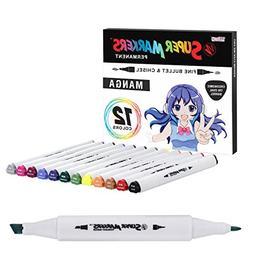 12 Color Super Markers Primary Manga Tones Dual Tip Set - Do