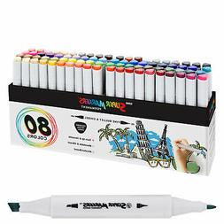 80 Color Super Markers Primary Tone Set, Dual Tip Chisel & B
