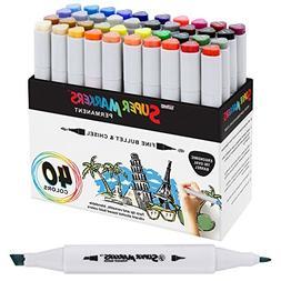 40 Color Super Markers Primary Tones Dual Tip Set - Double-E