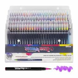 100 Color Super Markers Watercolor Real Brush Pen Set with 4