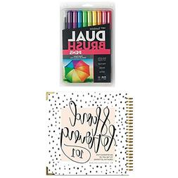 Tombow Dual Brush Pen Art Markers, Bright, 10-Pack plus Hand