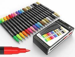 TOOLI-ART 18 Acrylic Paint Pens Assorted Markers Set 0.7mm