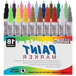 U.S. Art Supply 18 Color Set of Extra Fine Point Tip Oil Bas