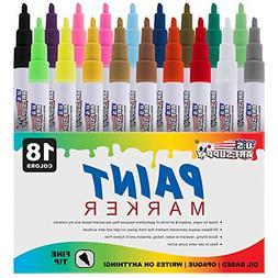 U.S. Art Supply 18 Color Set of Fine Point Tip Oil Based Pai