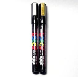 Uni Posca Paint Marker PC-1M Gold & Silver, 2 pens per Pack