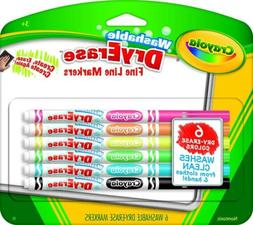 Crayola Washable Dry-Erase Fine Line Markers, 6 Classic Colo