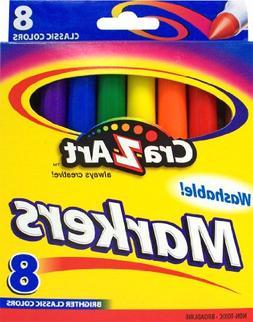 Crazart Washable Markers 8 Brighter Classic Colors Non-Toxic