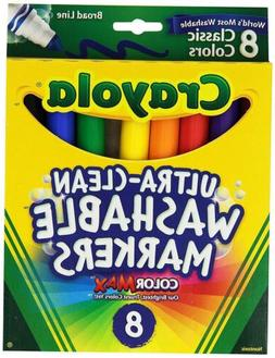 Crayola Washable Markers, Broad Point, Classic Colors, 8/Pac