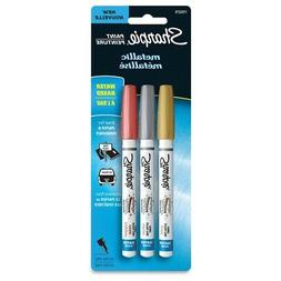Water-Based Metallic Paint Markers, Extra Fine, Assorted, 3/