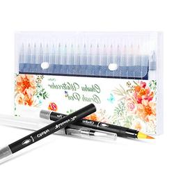Watercolor Brush Markers Pen, Ohuhu 20 Colors Water Based Dr