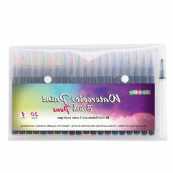 Watercolor Brush Pens 20 Paint Markers with Flexible Brush T
