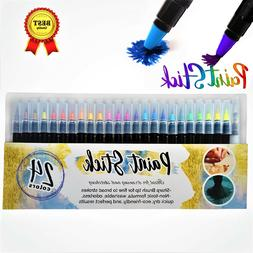 Watercolor Brush Pens 24 Paint Markers with Flexible Brush T