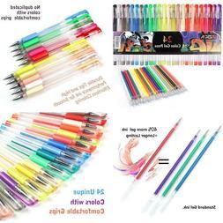 Zscm 48 Glitter Gel Pens Fine Point Markers Art Set 24 Color